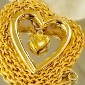 Authentic Vintage Givenchy Gold Heart Necklace 80s